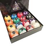 JaperBees Billiard Ball Pool Ball Set-Pearl Look Resin Ball, Complete 16balls, 4.3OZ(1/4 Lighter Than Regulation Weight) and 2-1/4 inch Diameter