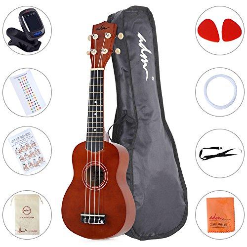 ADM Beginner Ukulele 21 Inch Soprano Kids Starter Pack Bundle with Gig bag Tuner Fingerboard Sticker Chord Card, Brown