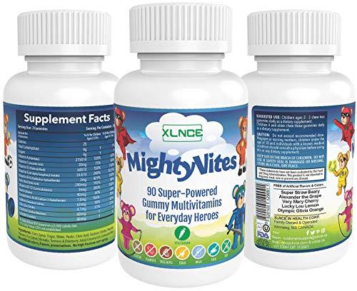 90 Veggie Gummie Multi - Vitamins for Kids - MIGHTYVITES: Children's Vegetarian Multi-Vitamin Gummies - 15X Extra Strength Immune Booster with Premium%DV + A, B6, B12, C, D3 for Toddler to Teen.