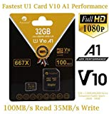 100MB/s 32GB Micro SD Card Plus Adapter. Amplim 32 GB MicroSD Memory Card. (667X V10 A1 Class 10 U1 UHS-I) MicroSDHC Card TF for Cell Phones, Tablets, Cameras, Fire, GoPro, Nintendo