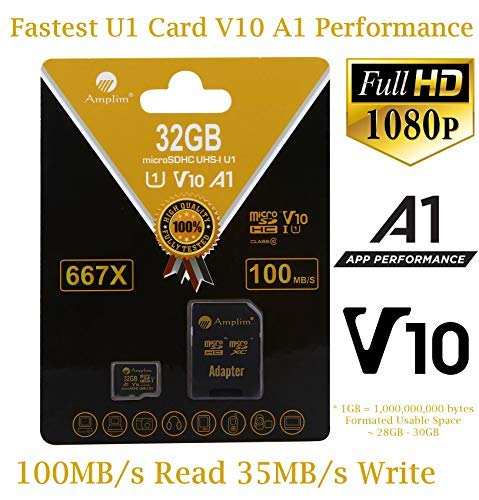 32GB Micro SD Card Plus Adapter. Amplim 32 GB MicroSD Memory Card. (667X 100MB/s V10 A1 Class 10 U1 UHS-I) MicroSDHC Card TF for Cell Phones, Tablets, Cameras, Fire, GoPro, Nintendo