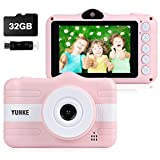 YUNKE Kids Camera, Child Camera, Digital Children Cameras with 3.5 Inches Screen 32G Memory Card Strap Card Reader, Christmas New Year Birthday Festival Toy Gift for Children Age 3-12