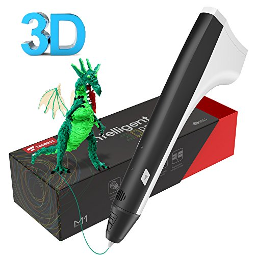 Tecboss 3D Drawing Pen, M1 Adults Kids, 3D Printer Printing Pen - USB Power, 2PCS Filament Refills, PLA and PCL Compatible - Black