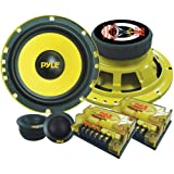 """2-Way Custom Component Speaker System - 6.5"""" 400 Watt Component with Electroplated Steel Basket, Butyl Rubber Surround & 40 Oz Magnet Structure - Wire Installation Hardware Set Included - Pyle PLG6C"""