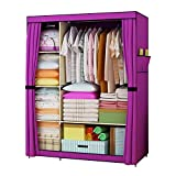 Product review for FKUO Large Wardrobe Closet furniture Non-woven Fabric Steel frame reinforcement Standing Storage Organizer Detachable Clothing Closet (purple)