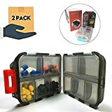 Pill Organizer 10 Compartments Travel Portable, Pill Case for Purse, Pill Box for Vitamin 2Pcs (Black+White)
