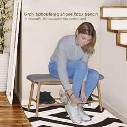Bamboo Upholstered Shoe Bench Seat – Entryway Hallway Ottoman Footstool, 1-Tier Rack for Storage Box & Shoes, Soft Grey Cushion, 35.5L x 13.4W x 17.7H Inch