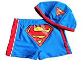 TopTie Toddler Boys' Swimming Trunk, Superman Swim Shorts with Cap SIZE5
