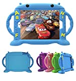 iPad Case for Kids, New iPad 2017 2018 9.7 inch Case/iPad Pro/iPad Air 1 2 Cute Cartoon Case, Universal Shockproof Silicone Protective Cover with Self Stand [BPA Free][Side Handles] (Blue)