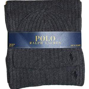 Polo Ralph Lauren Men's 2 Piece Set Hat & Scarf Navy Lambswool Blend