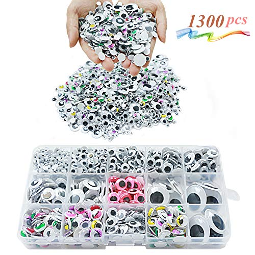 Googly Wiggle Eyes 1300 Pcs Wiggle Eyes Self Adhesive for Craft Sticker Multiple Colored Size for DIY Animal Creative Crafts Decorations