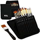 Artify 12 Pcs Paint Brush set| Pop-up Stand Carrying All in One Case with free Palette Knife, A Large Flat Brush and Sponge| Perfect for Acrylic Oil Watercolor and Gouache