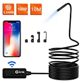 Wireless Endoscope, KZYEE 5.5mm Diameter 1080P 2.0 MP HD Semi-Rigid WiFi Borescope Inspection Camera IP67 Waterproof Snake Camera for Android & iOS Smartphone Tablet-33FT