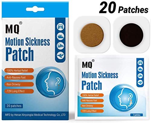 Motion Sickness Patch - 20 Pack - Works to Relieve Vomiting, Nausea, Dizziness and Other Symptoms Resulted from Sickness of Cars, Ships, Airplanes, Cruise, Trains & Other Forms of Transport Movement.