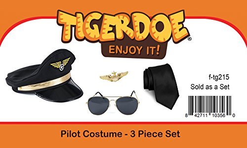 Tigerdoe-Pilot-Costume-4-Piece-Set-for-Adults-and-Teens-Captain-Accessories