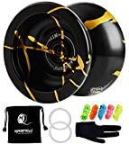 MAGICYOYO N11 Alloy Aluminum Professional Yoyo Unresponsive YoYo Ball (Black with Golden) with Bag, Glove and 5 Strings