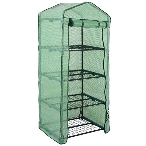 4 Tier Mini Greenhouse with PE Cover and Roll-Up Zipper Door, Waterproof Cloche Portable Greenhouse Tent-27.25' L X 19' W x 63' H, Grow Seeds & Seedlings, Tend Potted Plants (1pcs)