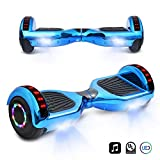 cho 6.5' inch Chrome Hoverboard Electric Smart Self Balancing Scooter with Built-in Wireless Speaker LED Wheels and Side Lights (Blue)