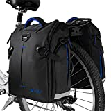 BV Bike Panniers Bags (Pair), Large Capacity, 14 L (Each Pannier), Black with Detachable Shoulder Straps and All Weather Rain Covers (Blue)