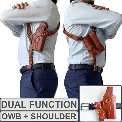 Soft Genuine Leather Butterfly Open Top OWB Gun Holster Fits Glock 19 23 26 27 / H&K VP40 / Springfield Pistols Carry Handgun Outside Waistband | Right Hand Draw | Angle Forward | (Shoulder Tan)