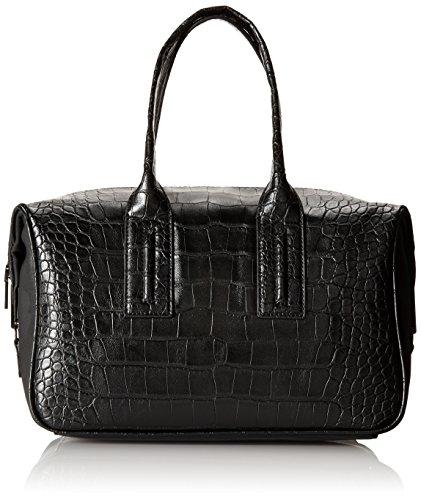 "51MUa4pJOaL Mid-sized top-handle handbag in dual croco and pebbled texture featuring black metallic hardware and zippers Double top handles 8"" shoulder drop"