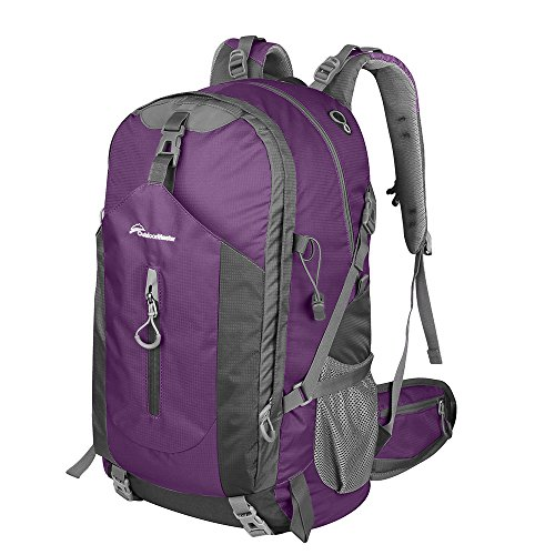 OutdoorMaster Hiking Backpack 50L - Weekend Pack w/ Waterproof Rain Cover & Laptop Compartment - for Camping, Travel, Hiking (Purple/Grey)