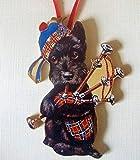 Bagpipe Scottie Ornament Handcrafted Wooden Terrier, Plaid Kilt Tam Dog Lover Gift, Scottie Magnet Parade Music Scotland Souvenir Dressed