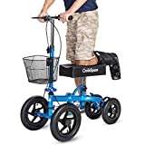 OasisSpace All Terrain Knee Scooter | with 12 inches Air Filled Wheels, Steerable Knee Walker Heavy Duty Crutches for Foot Injuries Ankles Surgery (Blue)