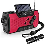 Emergency Weather Radio,Omew Portable Solar Hand Crank NOAA Weather Radio with AM/FM, LED Lamp & 2000mAh Power Bank Phone Charger & SOS Alarm and Waterproof Handheld Flashlight