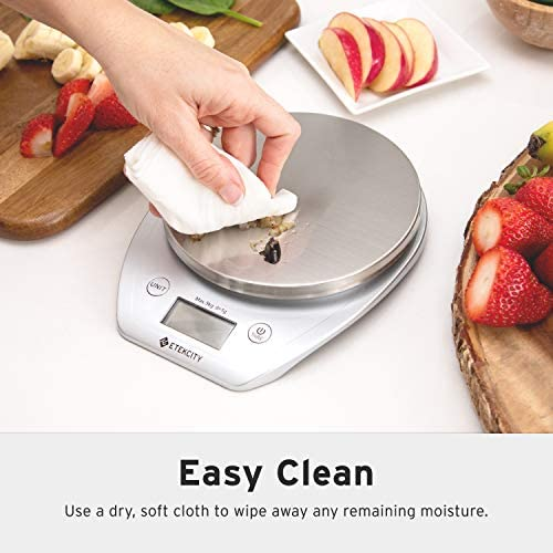Etekcity Food Scale with Bowl, Digital Kitchen Weight Grams and Ounces for Cooking and Baking, 1g Increment, Large LCD Display, Silver/Stainless Steel 7