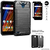 Phone Case for Cricket Wave (2018) FTU18A00 Tempered Glass- Brush Textured Dual-Layered Cover (Combat Black-Black TPU/Tempered Glass)