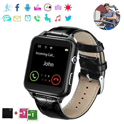 Smart Watch,Bluetooth Smartwatch Touchscreen with Camera, Smart Watches Waterproof Smart Wrist Watch Phone Compatible Android for Men Women Kids (Black)