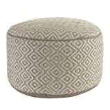 """Product review for Diamond Pattern Beige Wool 20"""" Round Hand Woven Ottoman Pouf"""