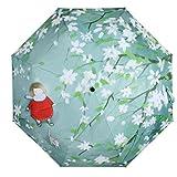 molshine Windproof Travel Umbrella-Compact Folding Lightweight Portable Parasol Umbrella for Women,Gift Choice (Begonia & Girl)