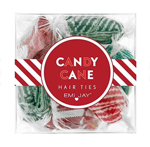 """51MaEj9miJL Each box measures 2""""x2""""x2"""" and contains 12 indivually wrapped hairties. Candy Cane includes: 2 emerald glitter, 2 ruby and white stripe, 2 white fairy dust, 2 ruby glitter, 2 green herringbone, 2 red herringbone."""