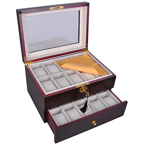Yescom 20 Slots Wooden Watch Display Case Glass Top Jewelry Collection Storage Box Organizer Men/Women Ebony Wood