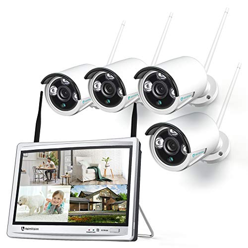 HeimVision-HM243-1080P-Wireless-Security-Camera-System-with-12-inch-LCD-Monitor-8CH-NVR-4Pcs-OutdoorIndoor-WiFi-Surveillance-Cameras-with-Night-Vision-Waterproof-Motion-Detection-No-Hard-Drive