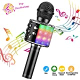 ShinePick Wireless 4 in 1 Bluetooth Karaoke Microphone, Handheld Portable Speaker Machine, Home KTV Player with Record Function, Compatible with Android & iOS Devices(Black)