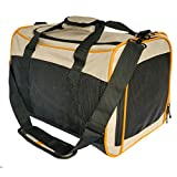 Kurgo Wander Pet Carrier, Soft-Sided Pet Travel Carrier for Dogs and Cats, Airline Compliant, Black/Khaki