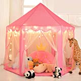 Senodeer Princess Tent for Girls Play Castle Fairy Tents for Kids Large Hexagon Play House with Little Star Lights Toys for Children or Toddlers Indoor or Outdoor Games (Pink)