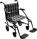 Drive Medical Fly Lite Ultra Lightweight Transport Wheelchair, Black Frame, 16.5 lbs