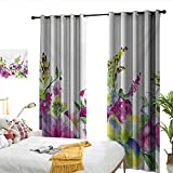 WinfreyDecor Watercolor Flower Sliding Curtains Hybrid Garden Floret Composition with Heathers and Stocks Abstract Art Darkening and Thermal Insulating W120 x L96