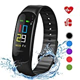 Lintelek Fitness Tracker - Sport Pedometer Odometers Color Screen Watch with Heart Rate Blood Pressure Oxygen Monitor, Step and Calorie Counter IP67 Smart Bracelet Gift for Kids Women and Men (Black)