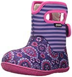 Bogs Baby Bogs Waterproof Insulated Toddler/Kids Rain Boots for Boys and Girls, Pansy Stripe Print/Violet/Multi, 4 M US Toddler