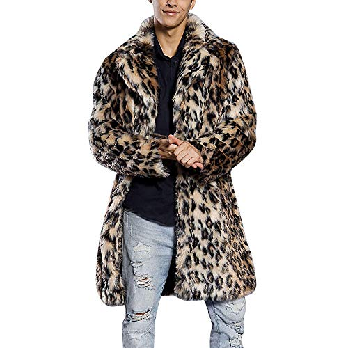 Mens Leopard Warm Thick Fur Collar Coat Jacket Faux Fur Parka Outwear Cardigan Black