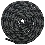 DELELE 2 Pair Round Wave Non Slip Outdoor Mountaineering Climbing Shoe Laces String Rope Dark Gray&Black Hiking Shoelaces Men Women Shoestrings-55.12'