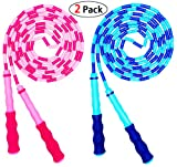 OHYAIAYN Soft Beaded Jump Rope, Adjustable Tangle - Free Segmented Fitness Skipping Rope for Men, Women and Kids Keeping Fit, Training, Workout and Weight Loss - 9 Feet