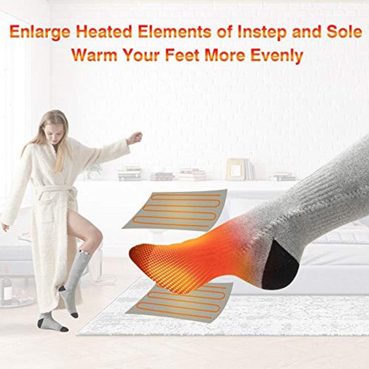 Heated Socks, Double-Sided Heated Electric Socks 3000MAH Camping Foot Warmer 3-Gear Thermal Battery Socks, Rechargeable Winter Heating Cotton Socks for Outdoor Sports, Breathable Climbing Hiking Skiing Foot Boot Warm Socks Heater for Women Men