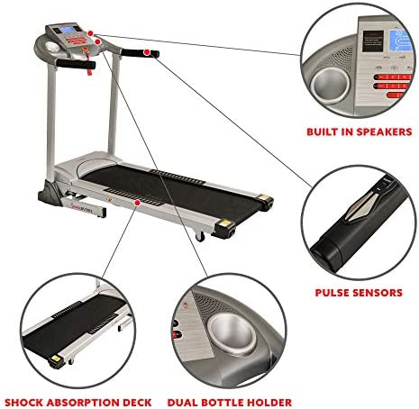 Sunny Health & Fitness Electric Folding Treadmill with Auto Incline 4