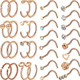 Chinco 32 Pieces C-Shaped Nose Ring L-Shaped Hoop Tragus Nose Studs Bone Curved Hoop Tragus Cartilage Hoop Piercing (Style Set 3, Rose Gold)